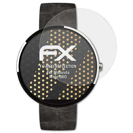 atFoliX Película Protectora para Motorola Moto 360 Lámina Protectora de Pantalla, antirreflejos y amortiguadores FX Protector Película (3X)