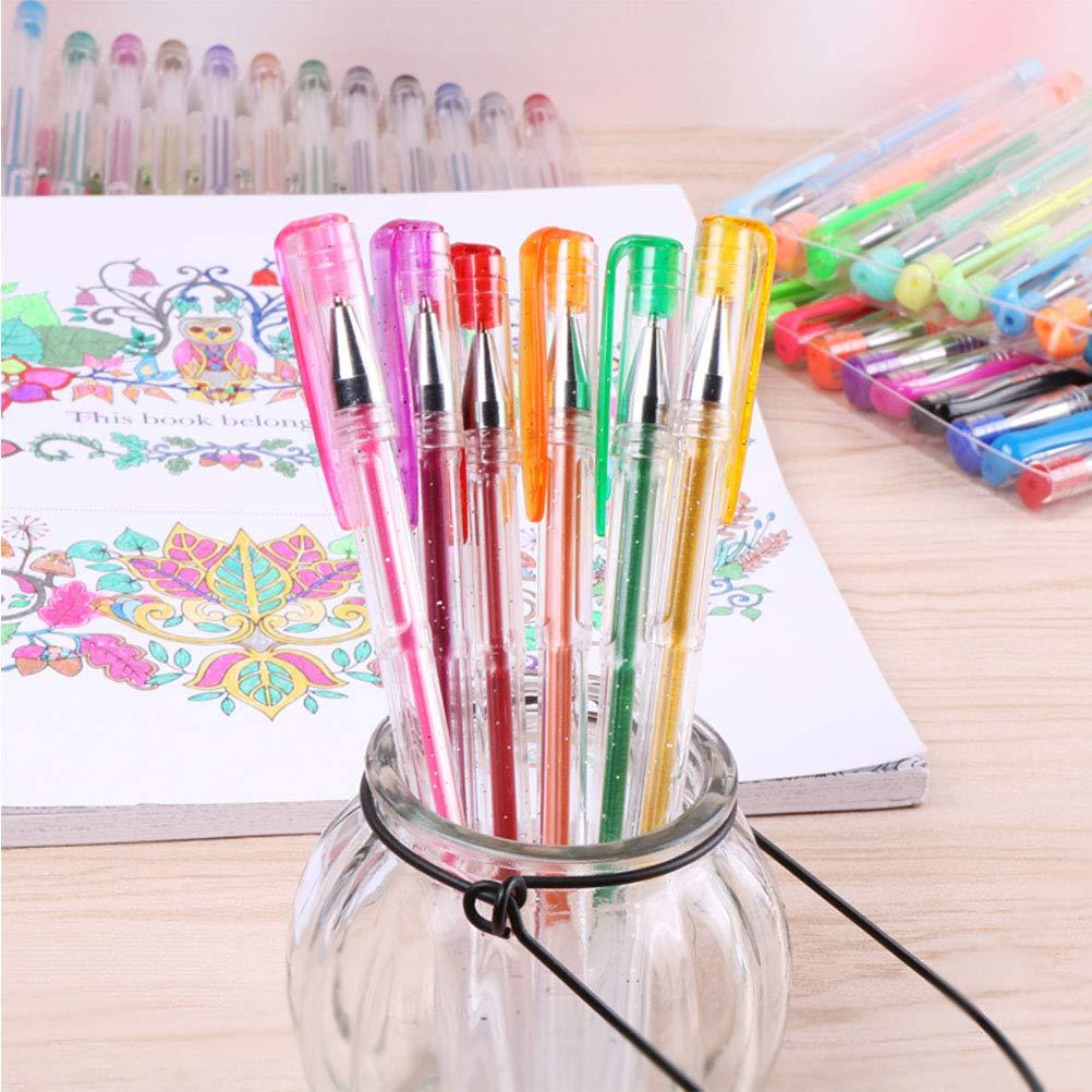 48 Colores Bol/ígrafos de Gel Purpurina Ne/ón y Pastel Punta 0.5-1mm Boligrafos para Regalar Pintar y Dibujar YOTINO 48Pcs Bol/ígrafos de Tinta Gel