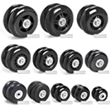 Airkoul Forwardsell Black Luggage Suitcase/Inline Outdoor Skate Replacement Wheels with ABEC 608zz Bearings