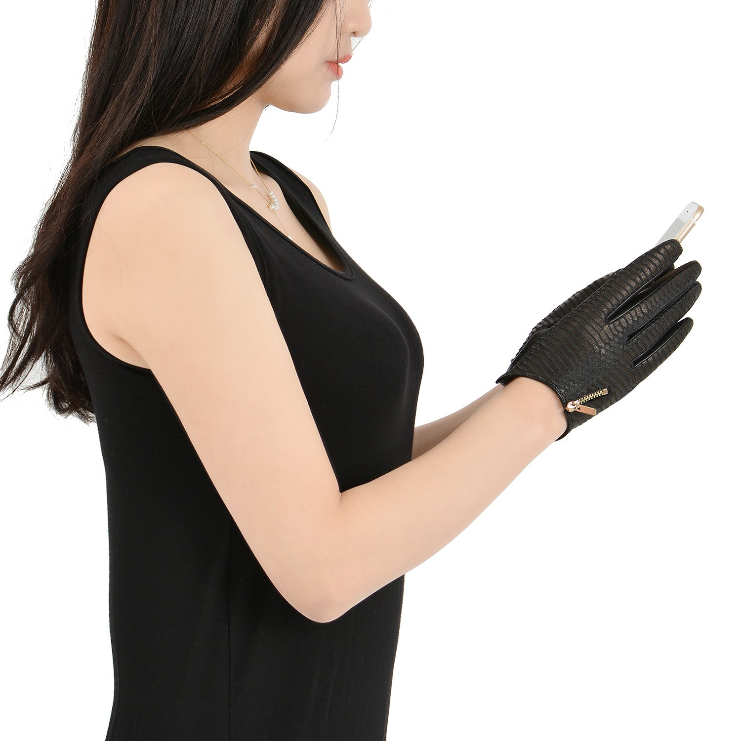 Fioretto Women Leather Gloves Touchscreen Sexy Goatskin Leather Gloves Driving Gloves Motorcycle Gloves with Metal Zipper Black M