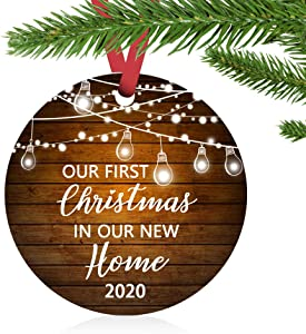 """ZUNON Our First Christmas in Our New Home Christmas Ornaments 2020 Our First Christmas New Home Decoration 3"""" Ornament (Brown New Home)"""
