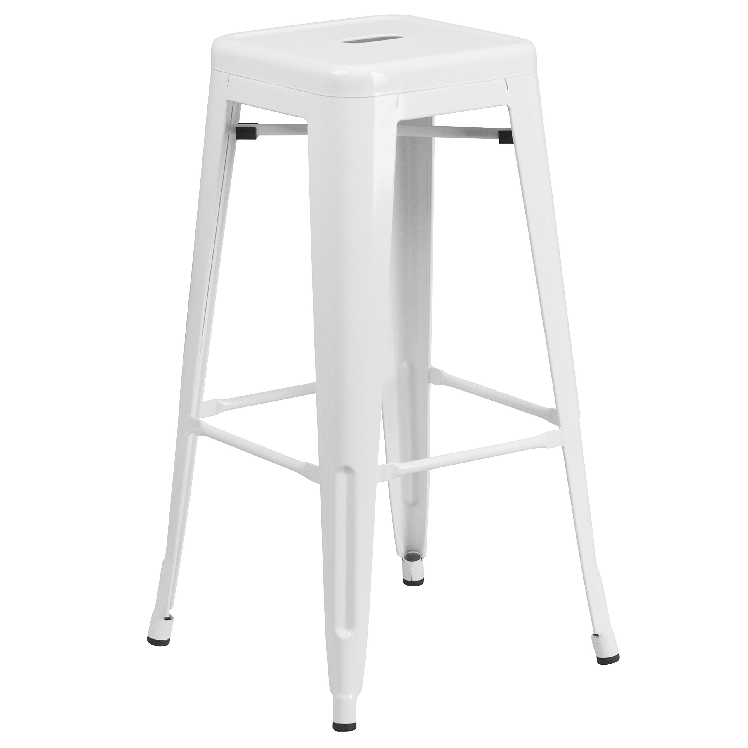 30'' High Backless White Metal Indoor-Outdoor Barstool with Square Seat