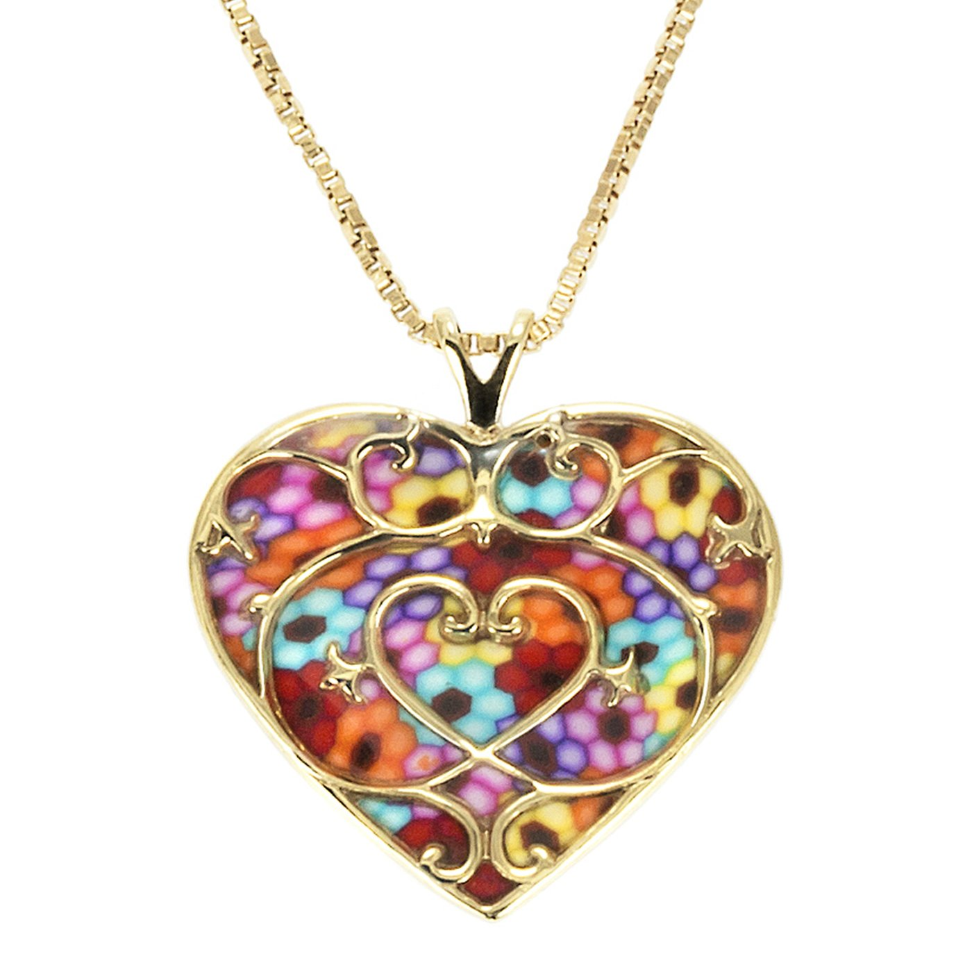 Gold Plated Sterling Silver Heart Pendant Fleur de Lis Necklace Handmade Multi-Colored Polymer Clay Jewelry, 16.5'' Gold Filled Chain