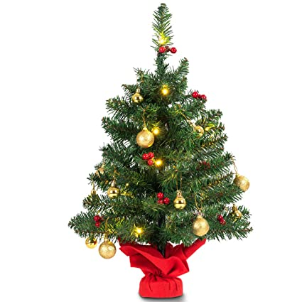 """Professional house 24"""" Pre-Lit Tabletop Christmas Tree Battery  Operated PVC w/Ornaments - Amazon.com: Professional House 24"""
