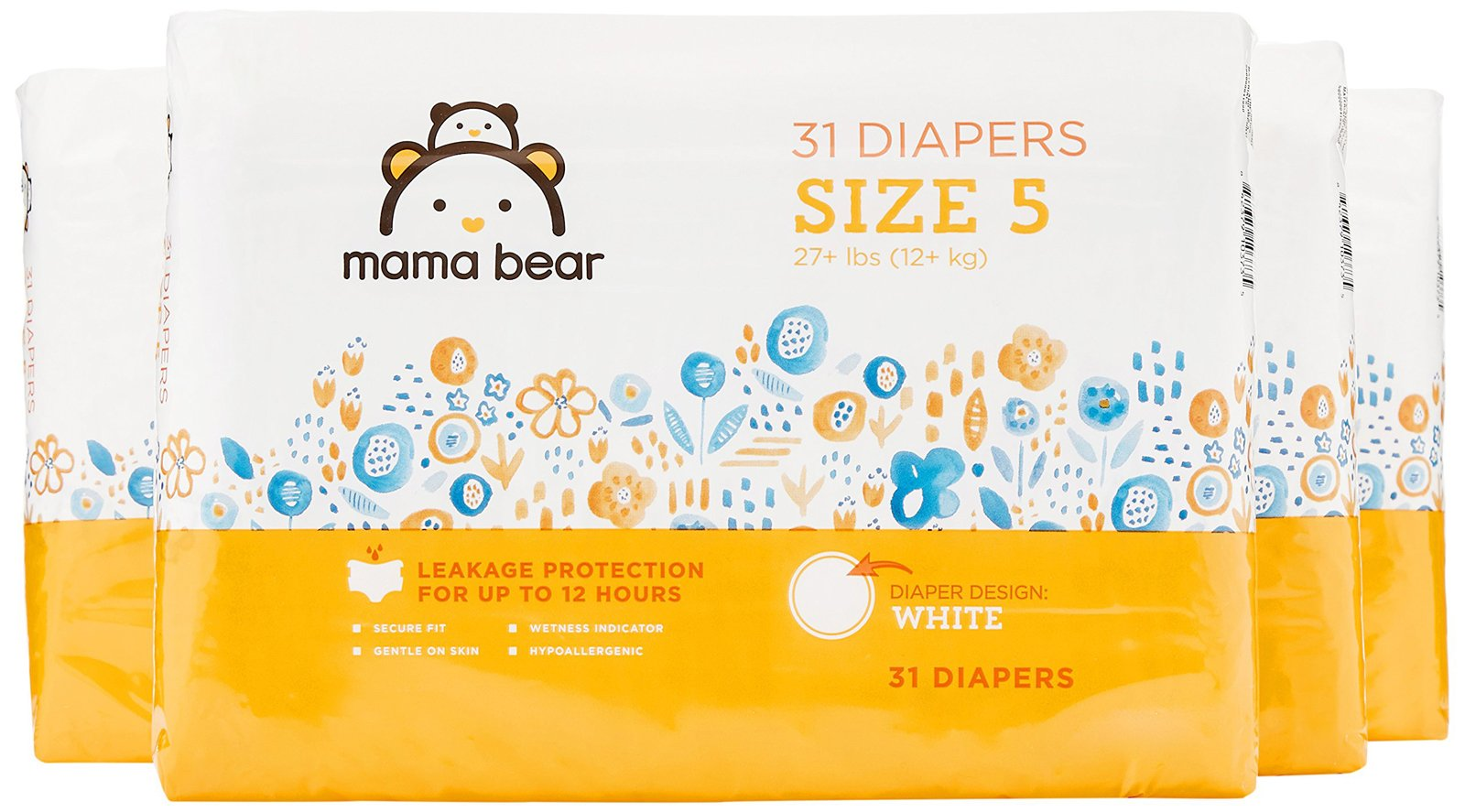 Amazon Brand - Mama Bear Diapers Size 5, 124 Count, White Print (4 packs of 31)
