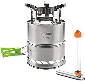 PSKOOK - Hornillo de gas de acero inoxidable, para exteriores, cocina, picnic, camping, portátil, plegable, ligero, de acero inoxidable