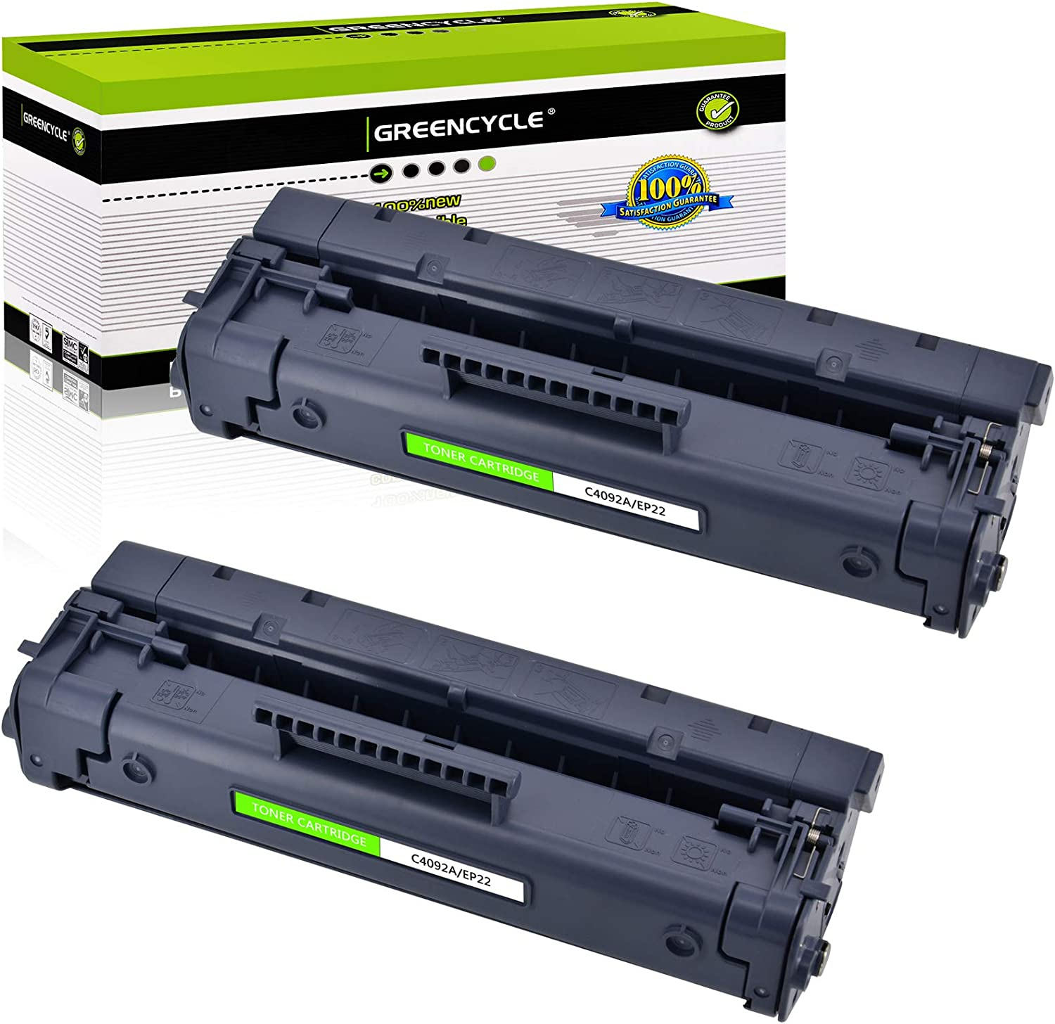 greencycle 2 PK Compatible C4092A 92A Black Toner Cartridges for HP Laserjet 1100 3200 1100a 3200se
