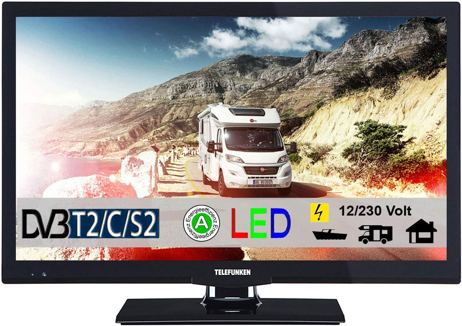 Telefunken T22 X 720 Móvil LED TV de 22 Pulgadas DVB-T/S/S2/T/T2/C USB 12 V 230 V Caravana Camping Coche camión Truck y Casa