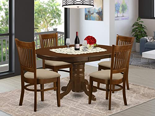 KEVA5-ESP-C 5 Pc set Kenley Kitchen Table with a Leaf and 4 Linen Seat Chairs