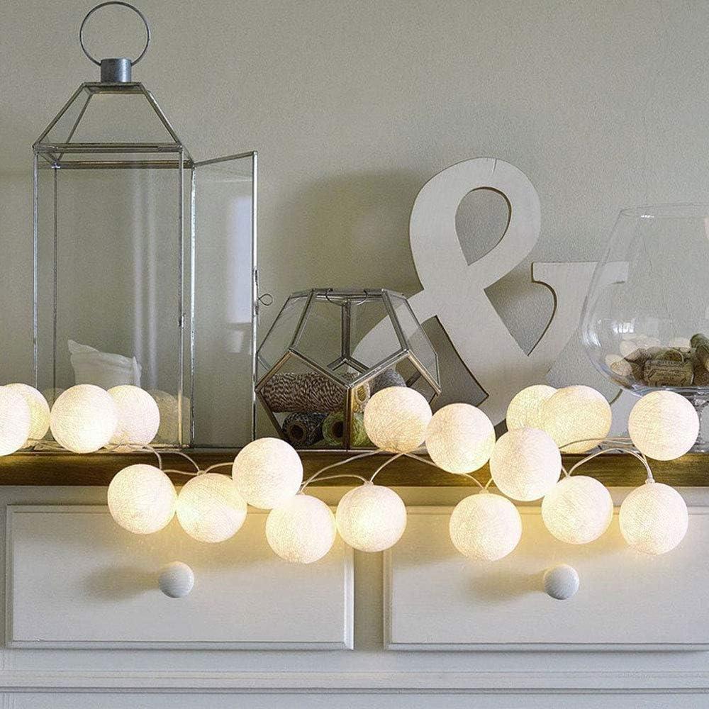 Anordsem 10 LED Cotton Ball Lights Warm White - 6.89ft Battery Powered Fairy String Lights for Indoor, Bedroom, Christmas, Party, Wedding, Festival Decor 2 Pack