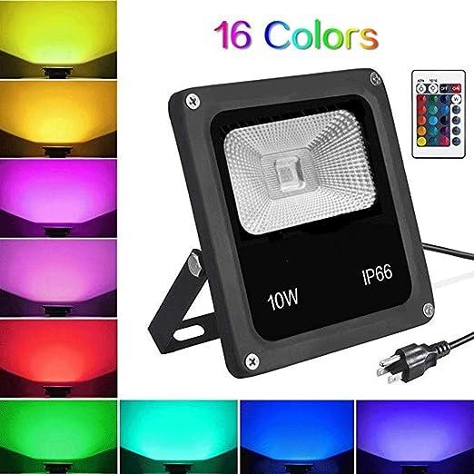 10W RGB Foco Proyector LED Cambio De Color Luz De Jardín Con Control Remoto Regulable Impermeable 65 Colores Y 4 Modos: Amazon.es: Iluminación