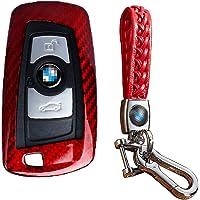 FancyAuto - Juego de llavero de fibra de carbono para BMW Serie 1 F20 serie 2 Serie 3 F30 4series 5 series F10 5 series GT 6series 7series, Red-Set