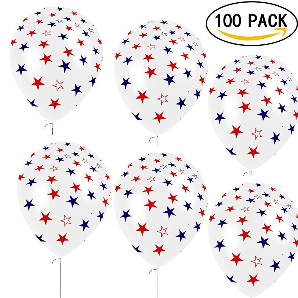 Patriotic Decorations Star Balloons - Fourth of July Party Supplies to Celebrate 4th of July Home Decor, Events, Independence Day Theme Parties (100Ct)