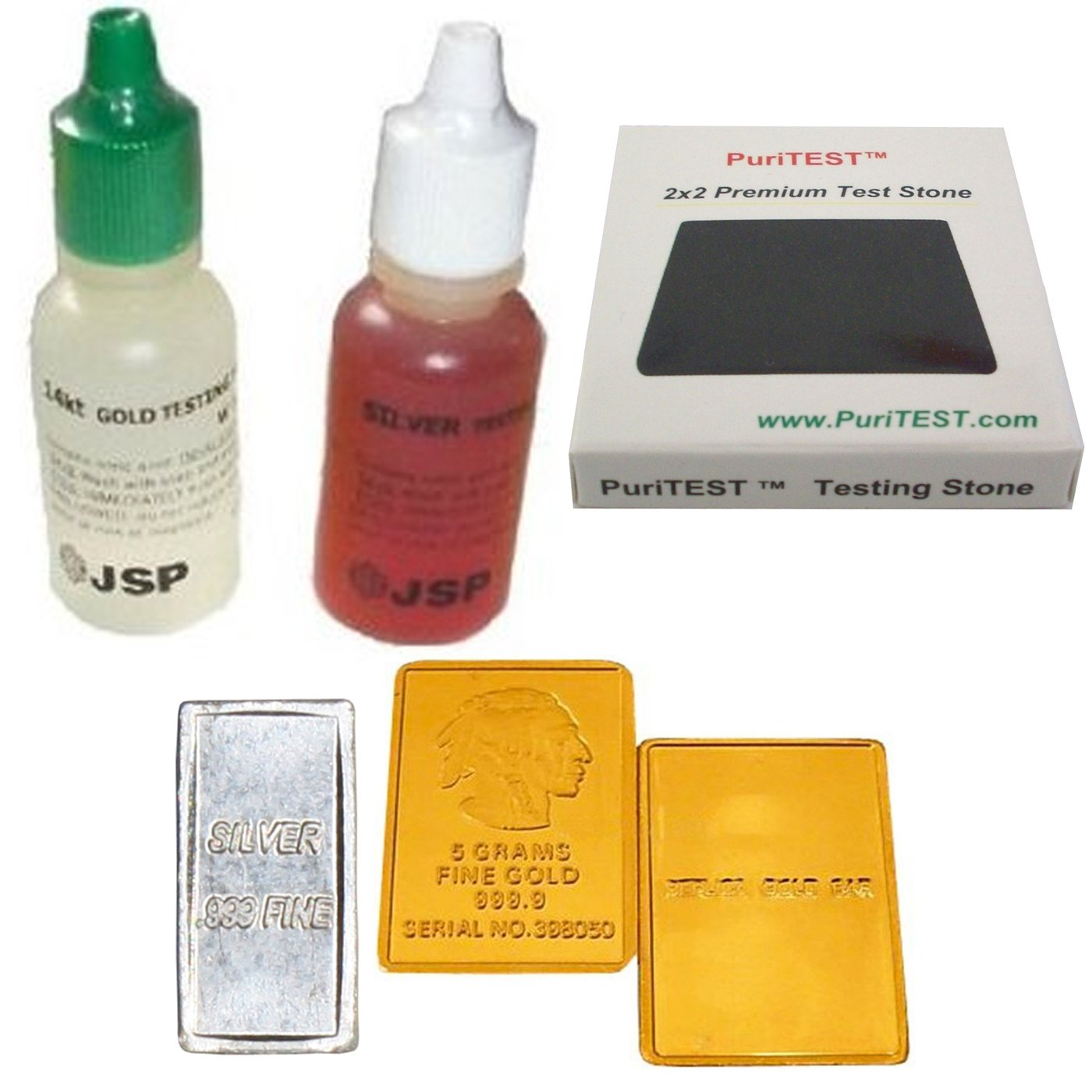 Gold Silver Test Acid Tester 14k Testing Stone Detect Metal 999 Sterling Jewelry + FAKE Gold & REAL Silver Bar Samples JSP/PuriTEST 14k+silvr+a1+c1+C15