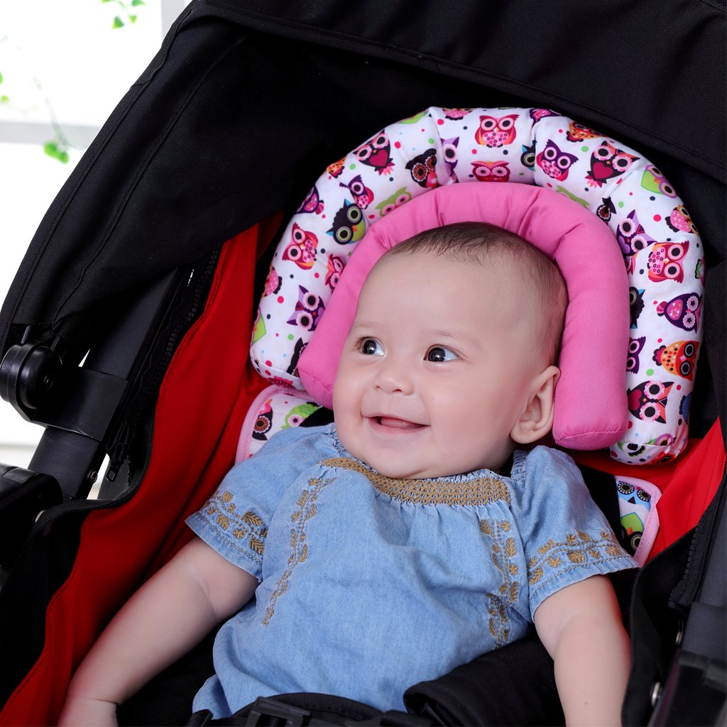 Infant Head Support for Car Seat, KAKIBLIN Baby Soft Neck Support Pillow, Pink by KAKIBLIN (Image #4)