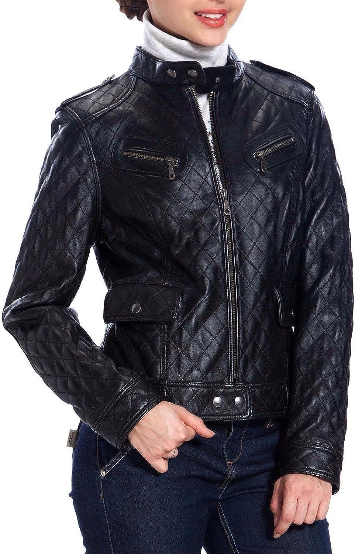 Koza Leathers Womens Lambskin Leather Biker Jacket KN0051