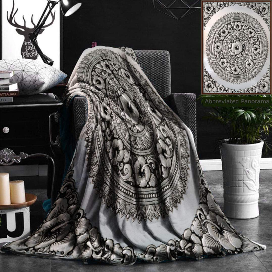 """Unique Custom Flannel Blankets Silver Lacquer Show Flower Art Balance Global Crafts Thai Artists Place In Chiang Mai Thaila Super Soft Blanketry for Bed Couch, Throw Blanket 40"""" x 60"""""""