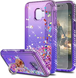 Galaxy J2 Core/Galaxy J2 Pure/Galaxy J2 Dash Case with HD Screen Protector With Ring Holder,KaiMai Glitter Moving Quicksand Clear Cute Shiny Girls Women Phone Case For Galaxy J2 2019-Pueple/Blue Ring