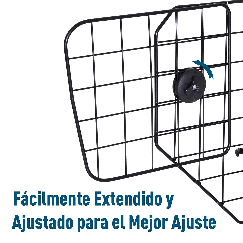 PawHut Rejilla Separador Perro Coche Extensible Universal Reja de Seguridad Barrera para Perro y Maletas Mascota Apoyo para Cabeza 89-122x41cm Acero