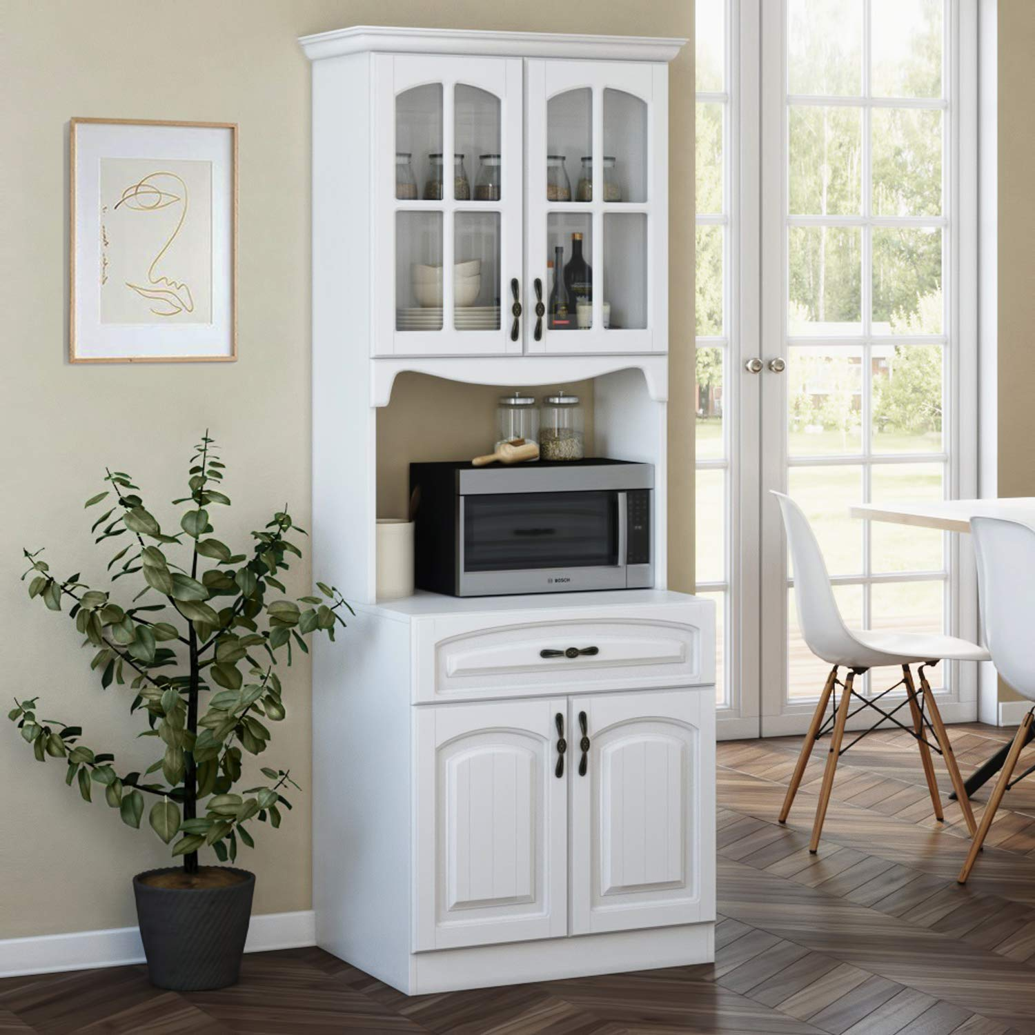Kitchen Storage Cabinet – Kitchen Cabinet with Storage Shelves and  Microwave Stand – Pantry Cabinet - Kitchen China Cabinet – Kitchen and  Pantry Hutch ...