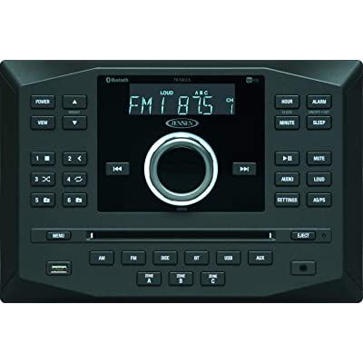 Jensen JWM62A AM|FM|DVD|CD|USB|AUX|App Ready Bluetooth Wallmount Stereo w/App Control, 3-Speaker Zones / 8 Speaker Output 8X 6 Watt, Receives Bluetooth Audio (A2DP) & Controls (AVRCP) from Devices: Car Electronics