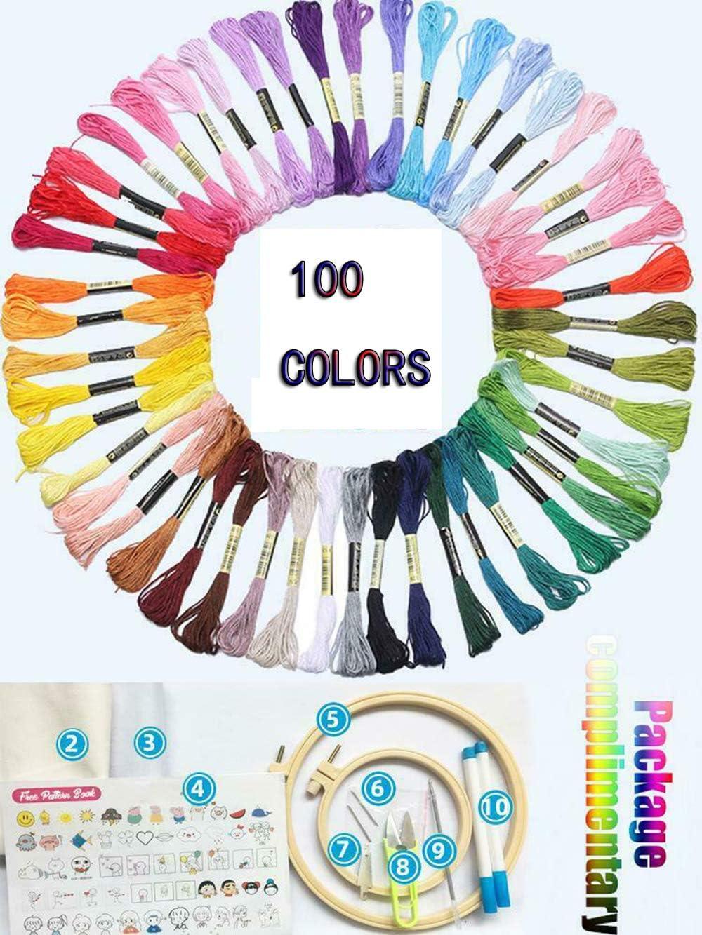 Kit de material de camiseta bordada a mano de bricolaje Kits de inicio de bordado de regalo con anillos de bambú Hilos de color y herramientas para adultos Principiante Principiante (B)
