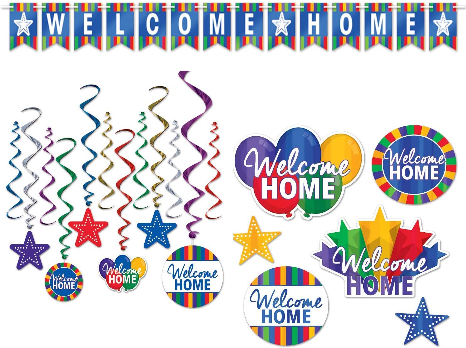 Welcome Home Decorations with Welcome Home Banner, Hanging Whirls, and Foil Cutouts - Perfect Party Decor for Returning Family and Friends, or Deployment Homecoming, or Housewarming