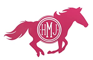 Custom Horse Monogram Vinyl Decal - Equestrian Bumper Sticker, for Tumblers, Laptops, Car Windows - Horse Girls Gift