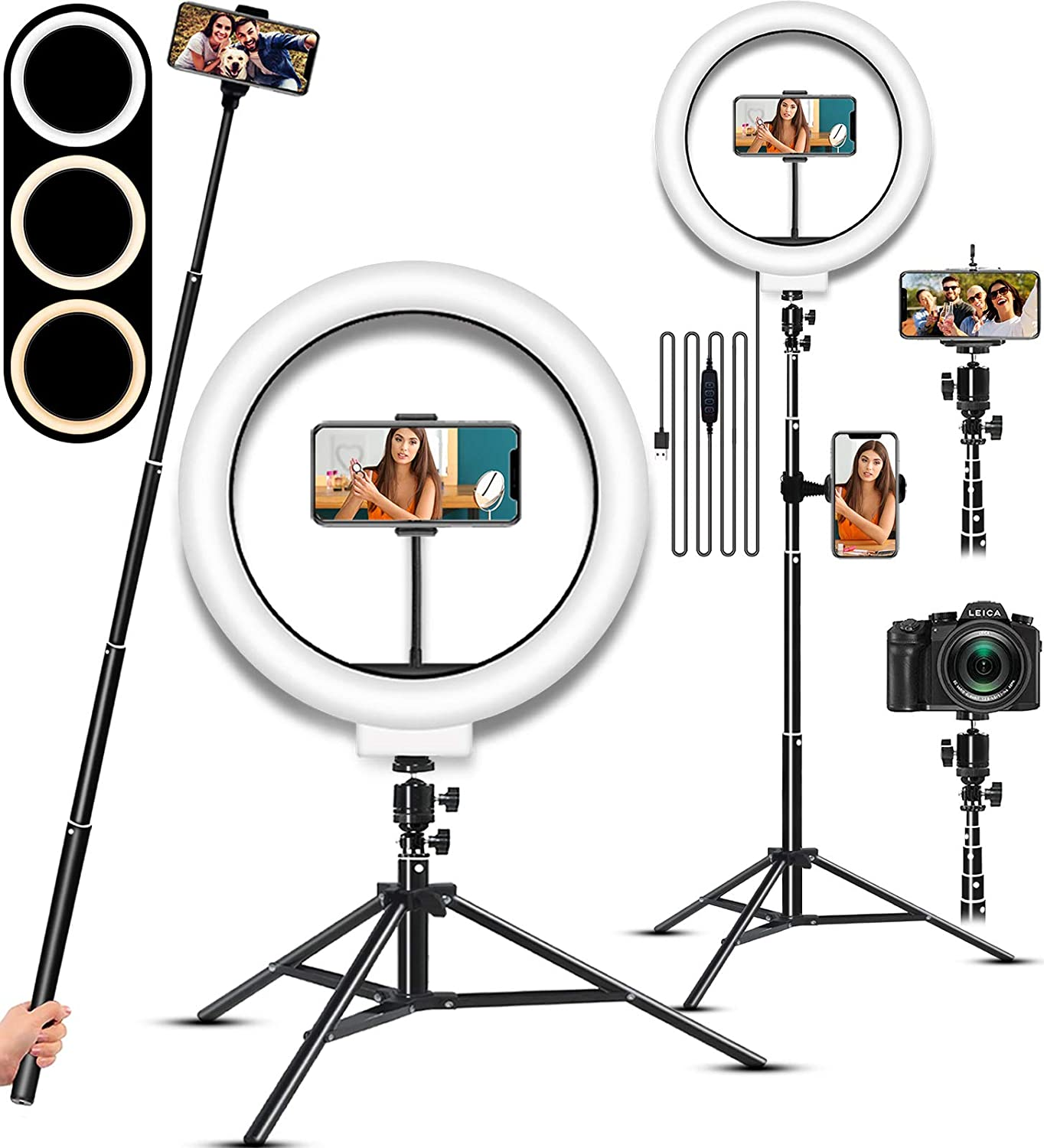 Selfie Ring Light, LED Light Ring with Stand, Circle Light for Makeup/Live Stream, Desktop Camera LED Ringlight with Tripod and Phone Holder Ring Lights for Photography/YouTube/Video Recording/Vlogs