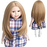 """Wigs Only!Popular Natural Light Brown Doll Wig American Girl Barbie Baby BJD SD 12""""Long Straight Heat Resistant Synthetic Hair for 18'' Doll with 10-11''Head"""
