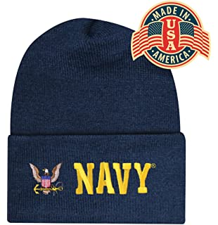 Blue Offically Licensed US USN Navy Eagle Embroidered Beanie Cap Stocking  Hat Military a8bc605a0638