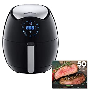 GoWISE USA 3.7-Quart 7-in-1 Programmable Air Fryer + 50 Recipes for your Air Fryer Book, GW22621 (Certified Refurbished)