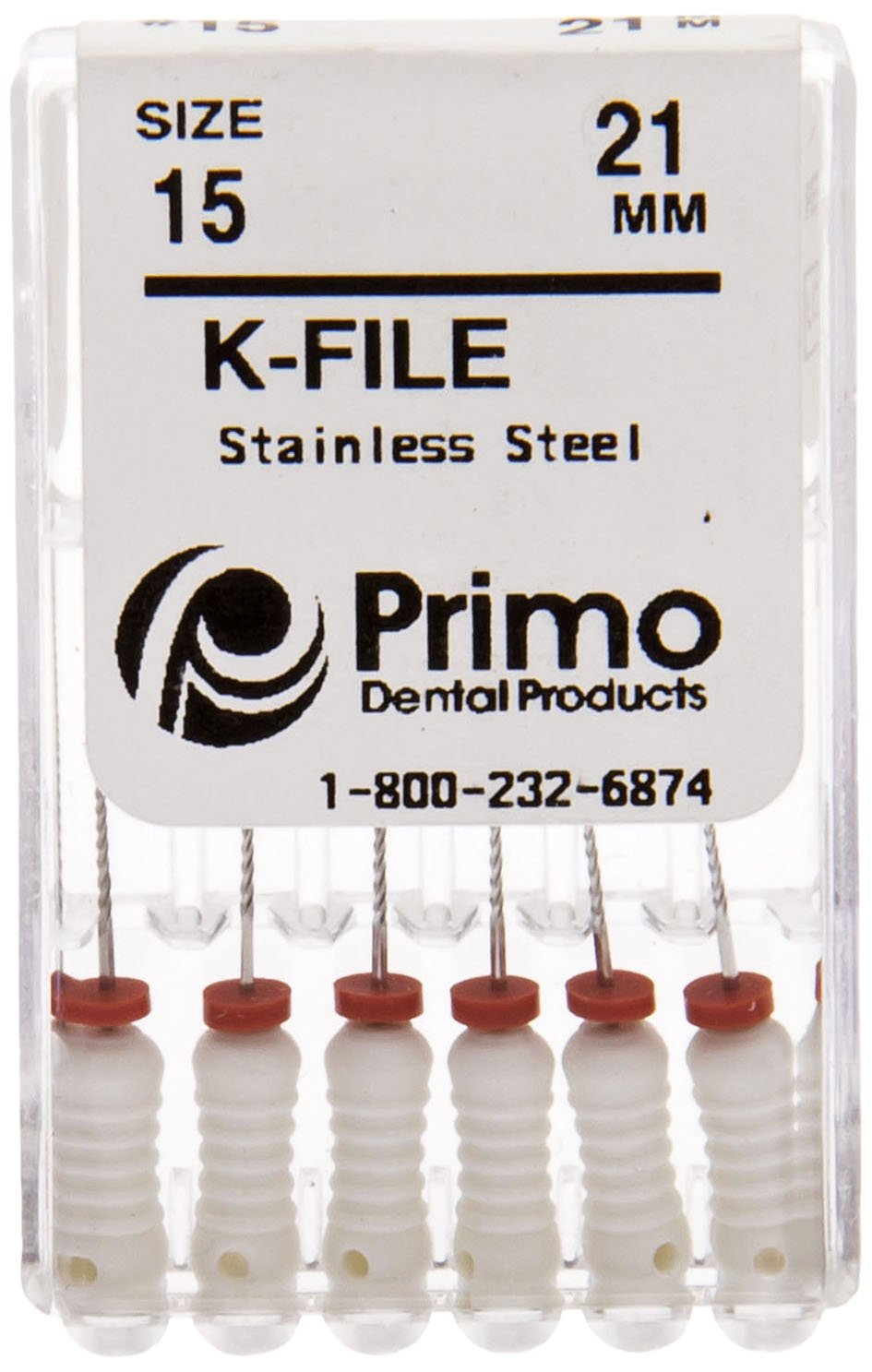 Primo Dental Products EFK211540 K-File, 21 mm, 15/40 Assorted (Pack of 6)