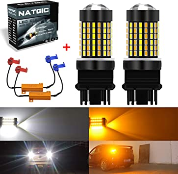 Syneticusa 3157 LED DRL Switchback Turn Signal Parking Light Bulbs White//Amber