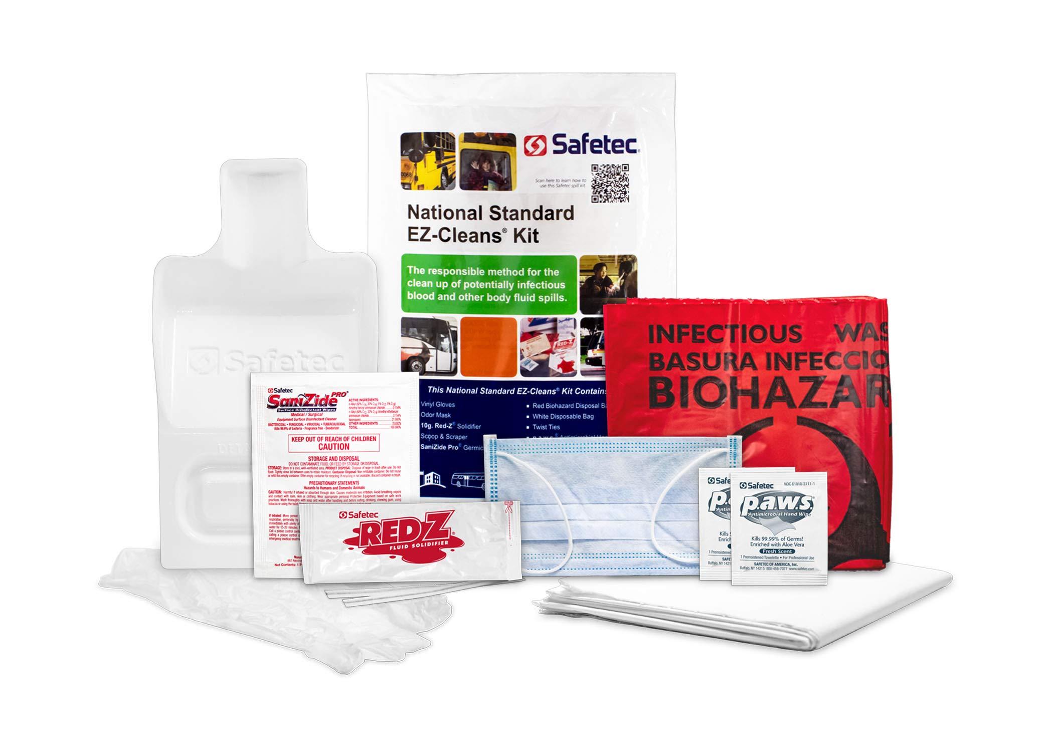 Safetec National Standard EZ-Cleans® Kit (Poly Bag), Body Fluid Spill Kit (24 Kits/case)