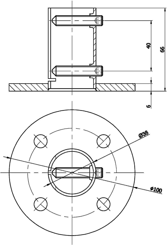 SO-TOOLS - Anclaje de suelo de acero inoxidable para tubos de 42,4 ...