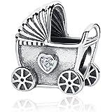 Colgante de plata de ley 925, para pulsera Pandora, diseño de carruaje de bebé