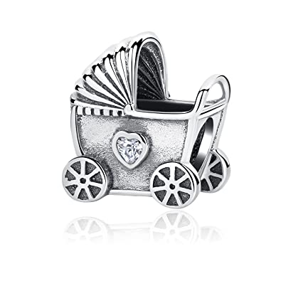 Colgante de plata de ley 925, para pulsera Pandora, diseño de carruaje de bebé, regalo de joyería de lujo: Amazon.es: Joyería