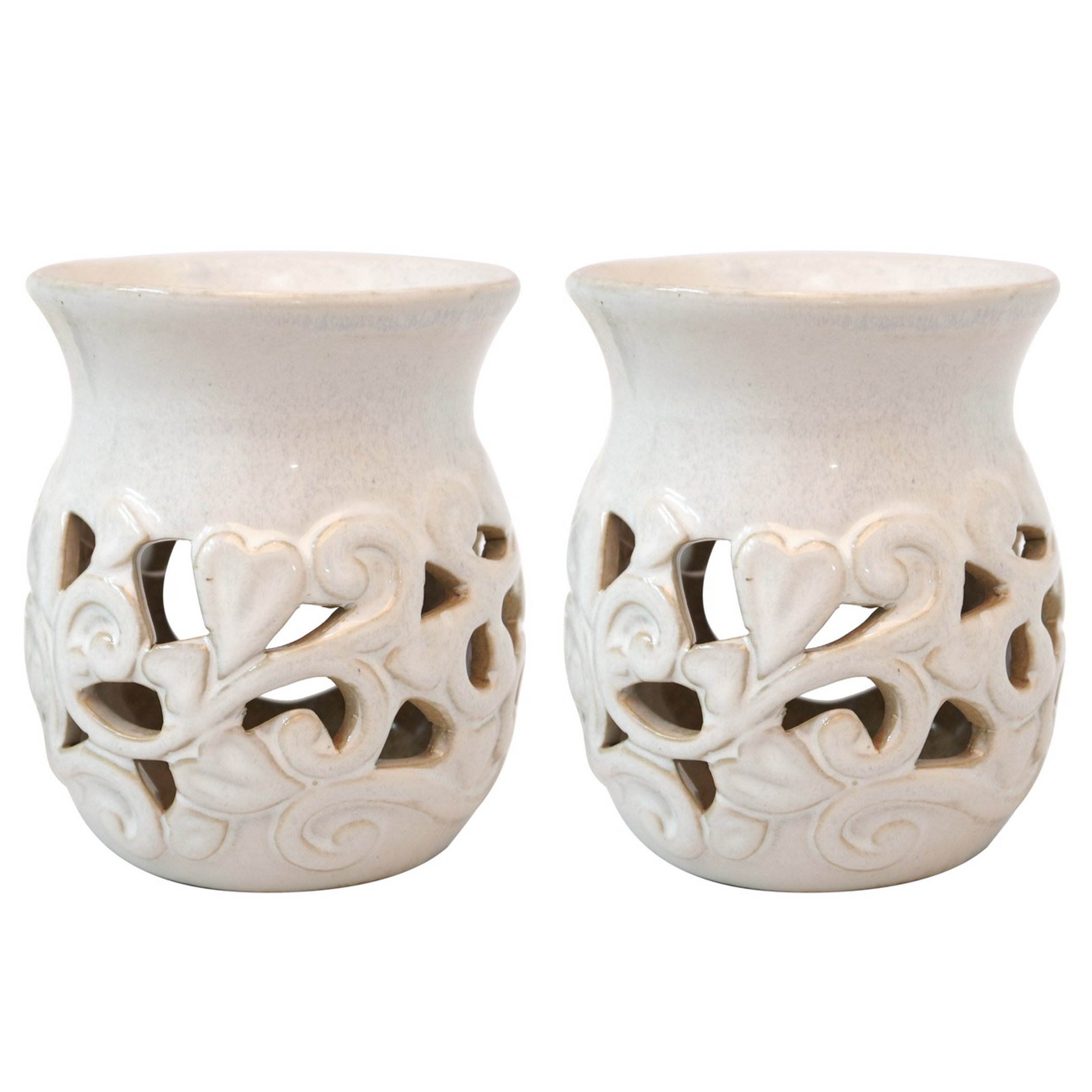 Hosley's Set of 2 White Ceramic Oil Warmer - 4.3'' High. Use with Tea Lights Ideal for Spa and Aromatherapy. Use with Hosley Brand Essential Oils and Fragrance Oils. O9 by Hosley (Image #3)