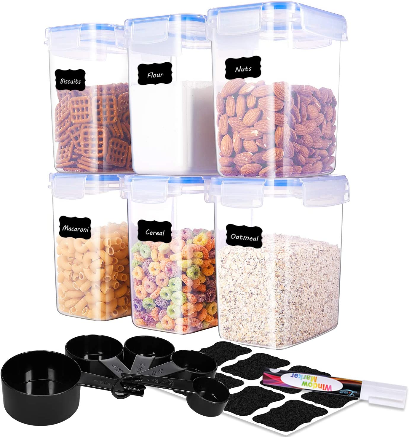 ME.FAN Medium Food Storage Containers [Set of 6] Airtight Storage Keeper 1.6L(54.1oz) with 5 Set Measuring Cups 24 Chalkboard labels & Pen Ideal for Sugar, Flour, Baking Supplies (Dark Blue)