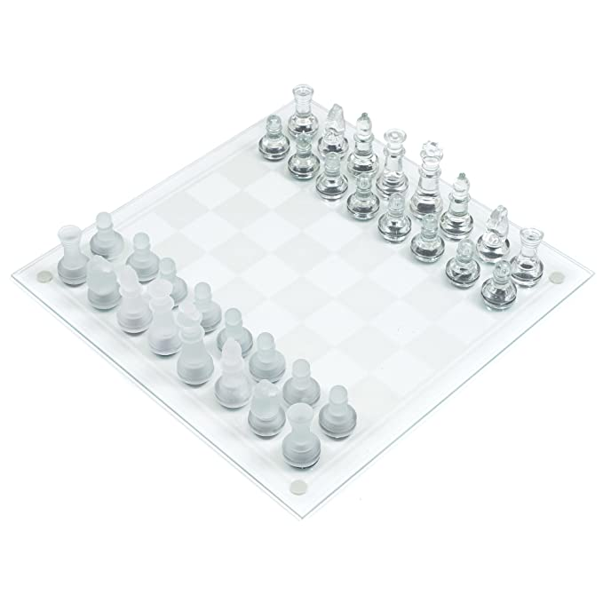 Trademark Games Elegant Glass Chess & Checker Board Set Clear & Frosted