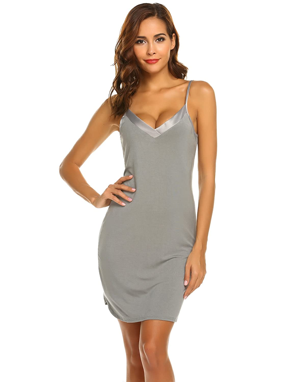022f6c0500b Ekouaer Chemises Women s Silky Soft Sleepwear Sexy V Neck Nightgown Full  Slips Lingerie Dress S-XXL