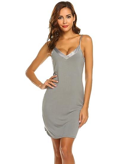 7513ddde427 Ekouaer Women s Sexy Nightshirts Spaghetti Strap Chemises Slip Nightgown  Sleepwear (Grey