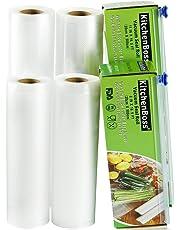 KitchenBoss Bolsas de Vacío 4 Rolls 20x500 y 28x500cm con 2 Caja de Corte (No