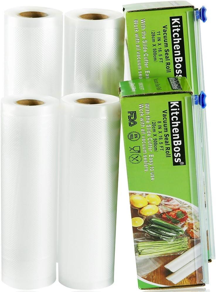 KitchenBoss Bolsas de Vacío 4 Rolls 20x500 y 28x500cm con 2 Caja de Corte (No Más Tijeras) para Almacenaje de Alimentos,Sous Vide Cocina, Aprobación de la FDA y BPA Free