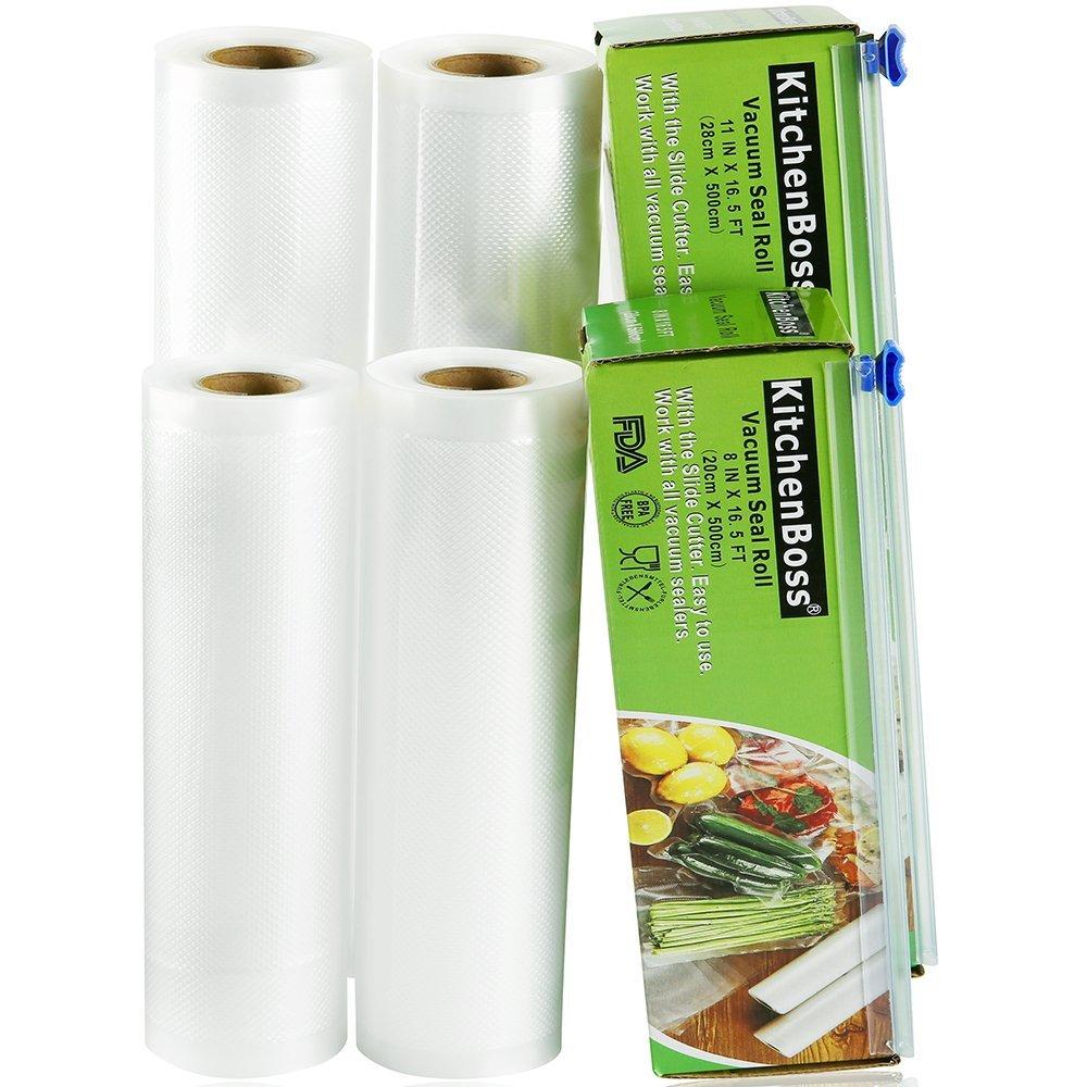 KitchenBoss Bolsas de Vacío 4 Rolls 20x500 y 28x500cm con 2 Caja de Corte (No Más Tijeras) para Almacenaje de Alimentos,Sous Vide Cocina, Aprobación ...