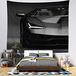 Tapestry for Men - Car Wall Hanging Tapestry - Black and White Wall Tapestry - Living Room Decor & Home Wall Art - Large Tapestries for Bedroom & Dorm Decoration