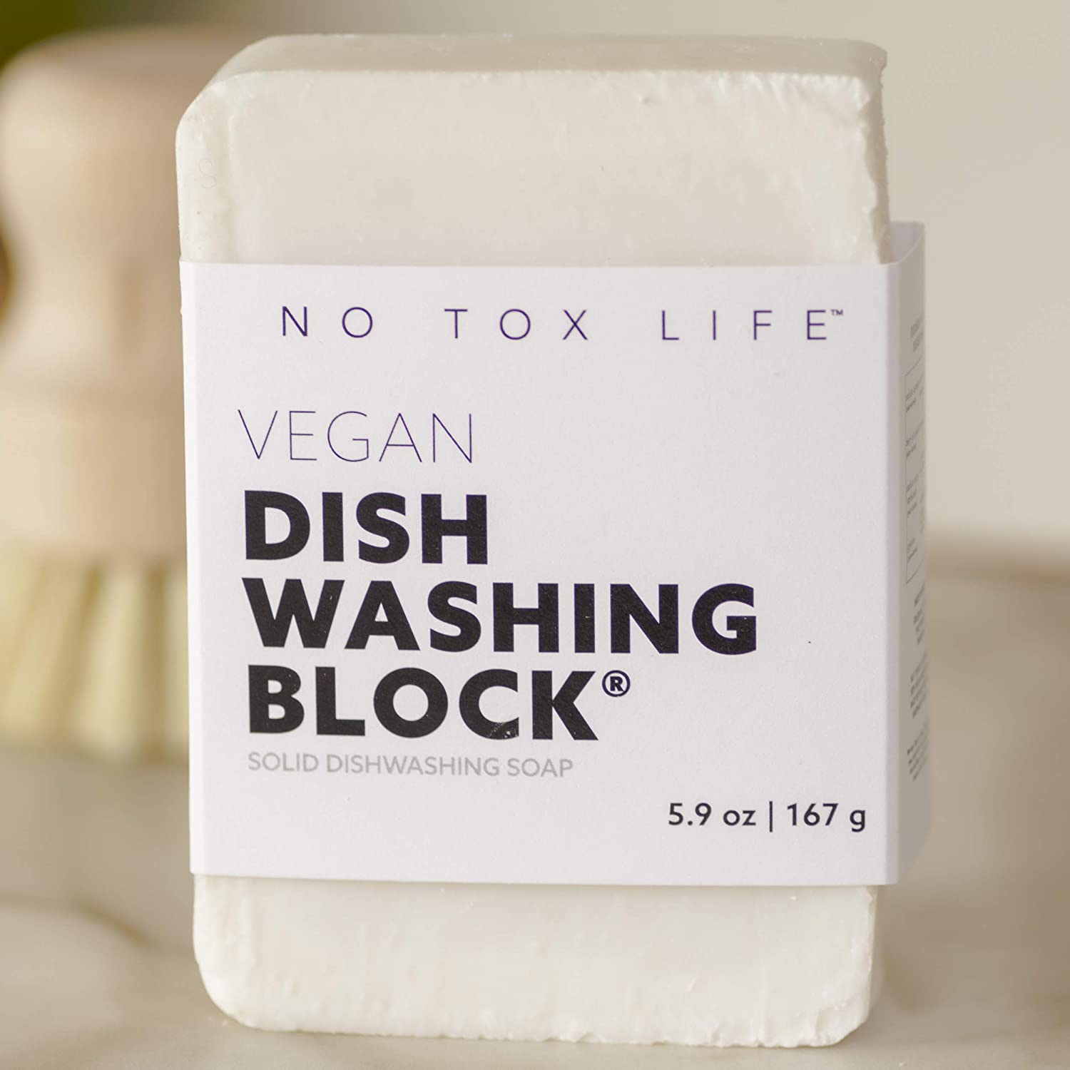 No Tox Life Dish Washing Block Soap - Free of Dyes and Fragrance - Zero Waste