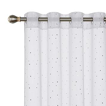 Deconovo Vorhang /Ösenschal Transparent Gardinen Voile Gardinen Kinderzimmer 175x140 cm Wei/ß Gro/ßes Stern 2er Set