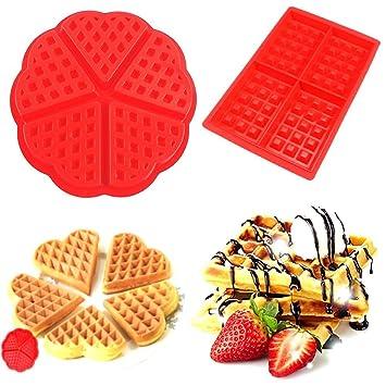 Molde de silicona para hornear gofres, bizcochos o tartas de chocolate, molde de repostería antiadherente, juego de 2: Amazon.es: Hogar